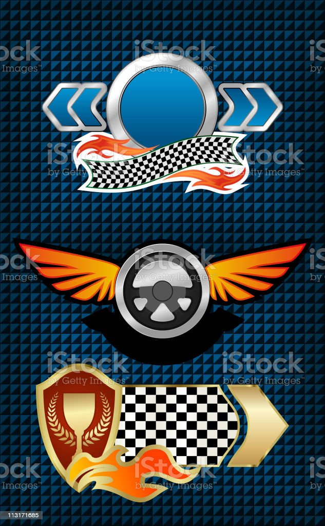 Racing signs and symbols royalty-free stock vector art