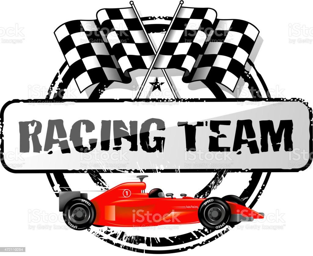 racing team symbol vector art illustration