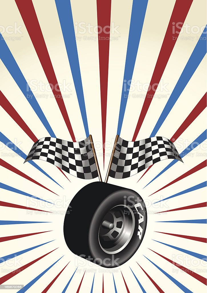US Racing Tire with checkered Flags vector art illustration