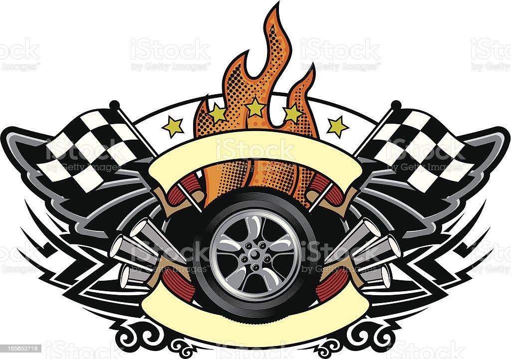 racing wheel emblem royalty-free stock vector art