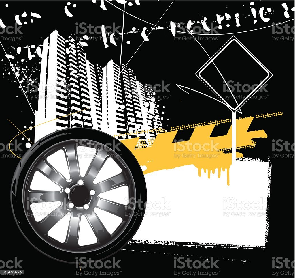 racing wheel with grunge city background vector art illustration