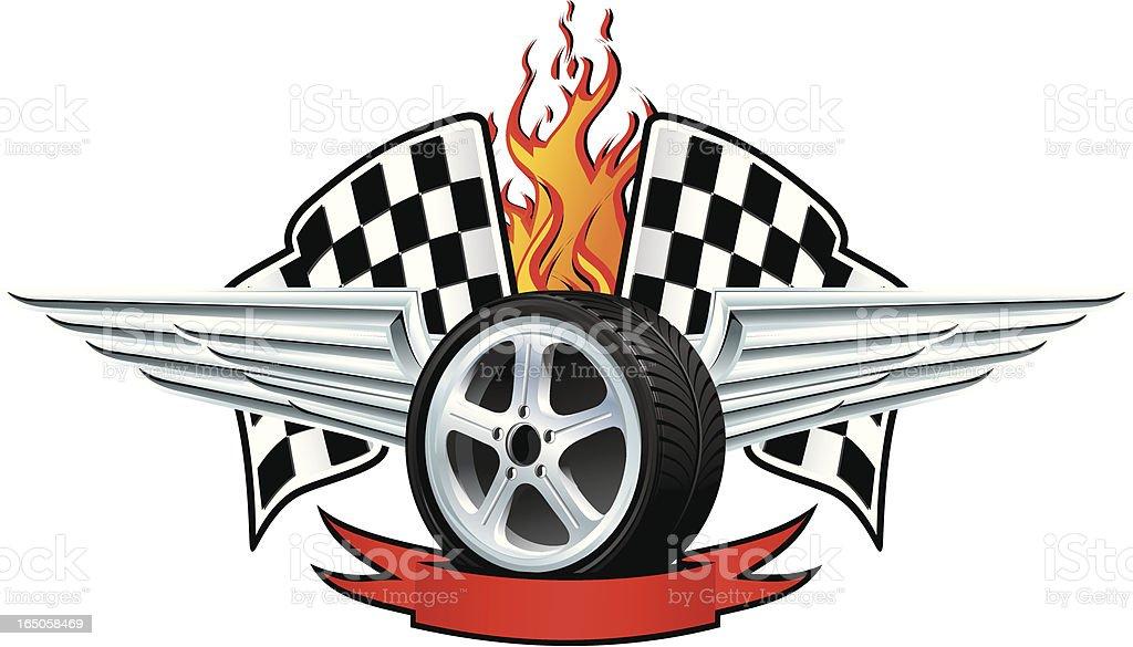 Racing winged wheel vector art illustration