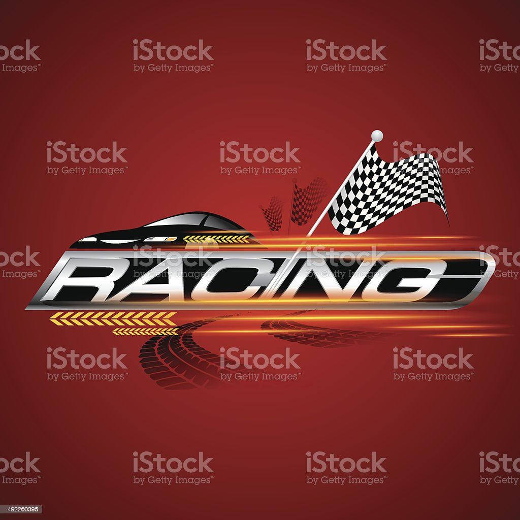 Racing with Checkered Flags Concept Vector vector art illustration