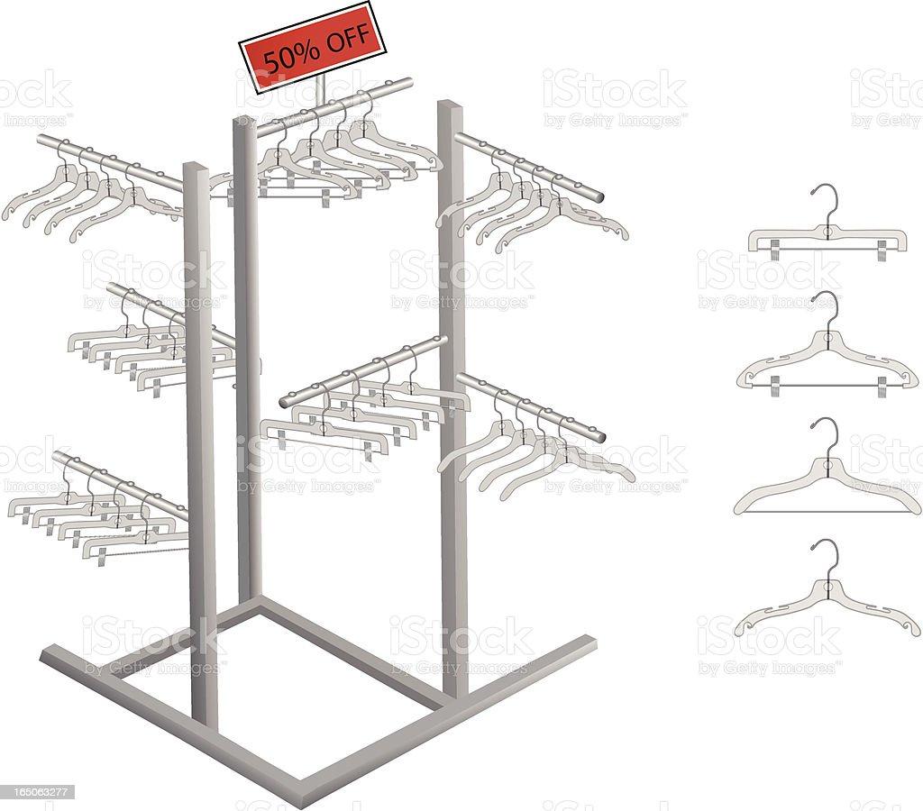 Rack and hangers royalty-free stock vector art