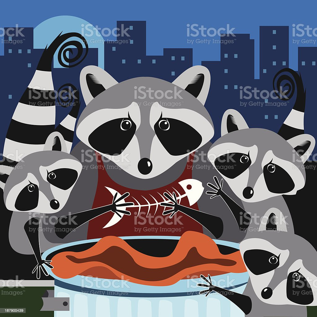 Racoons royalty-free stock vector art