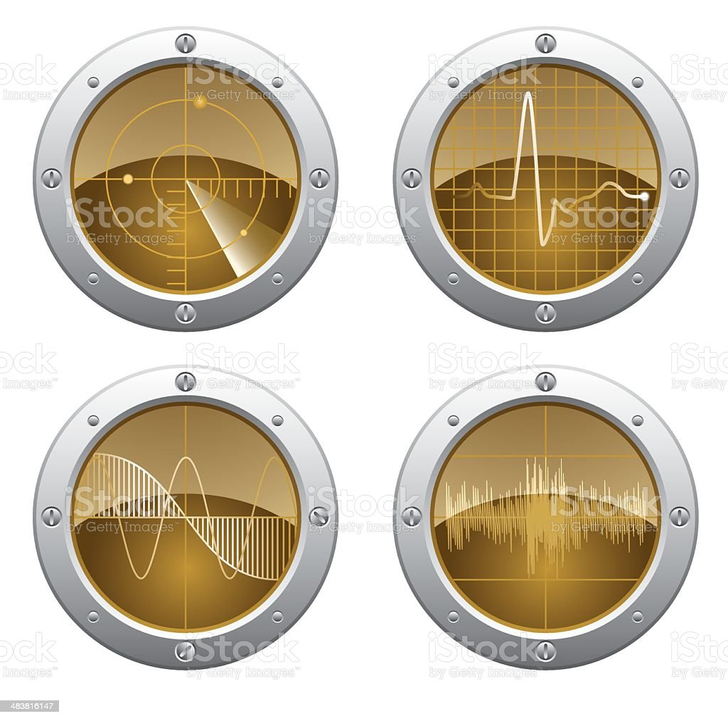 Radar and oscilloscope monitors royalty-free stock vector art