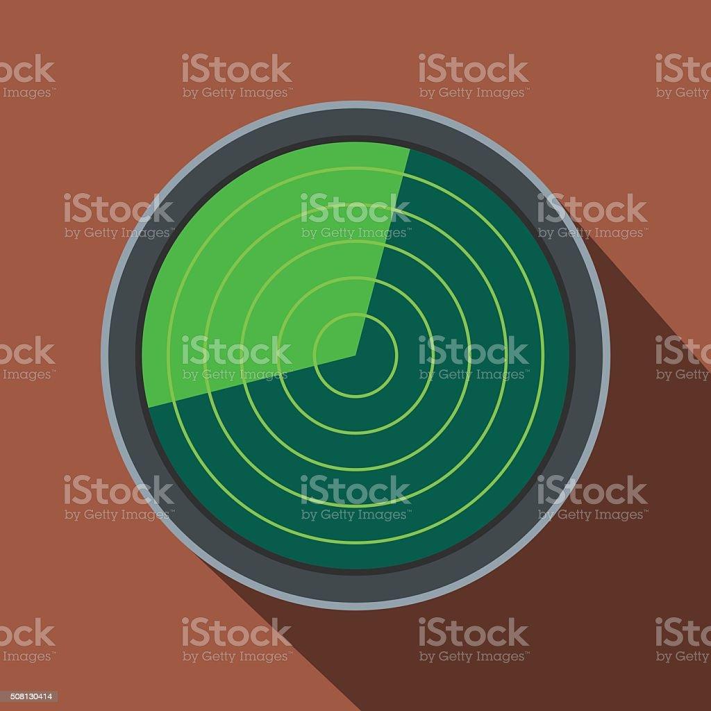 Radar flat icon with shadow vector art illustration