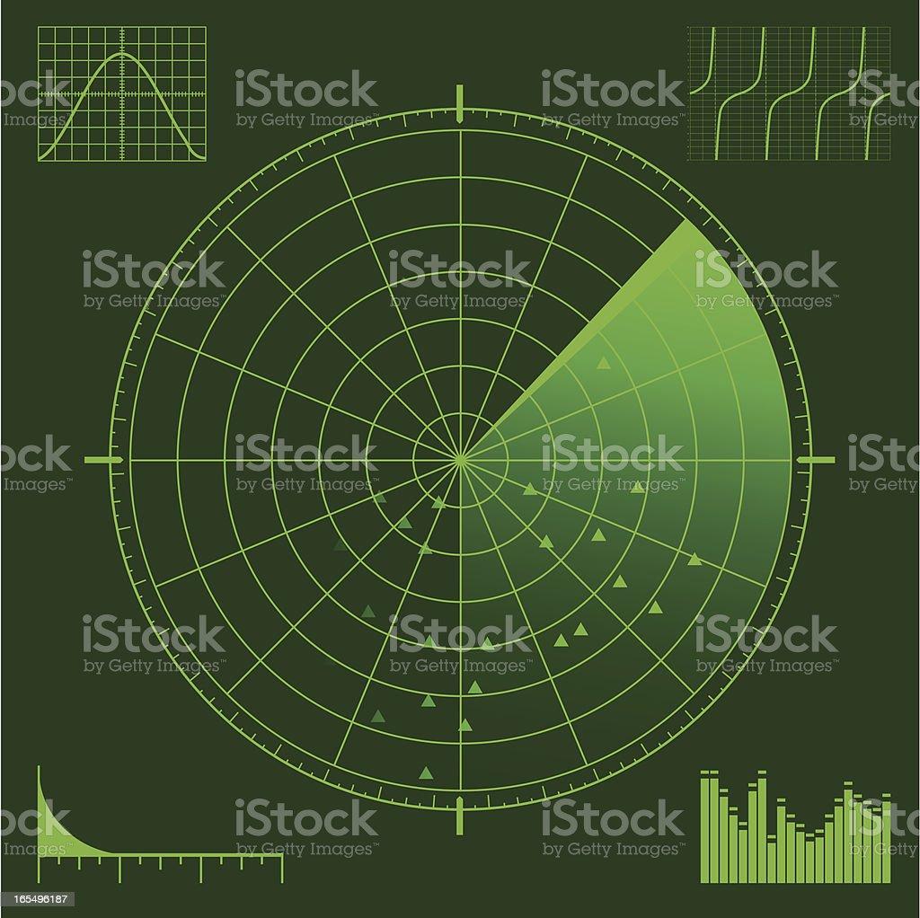 Radar or Sonar Scope royalty-free stock vector art