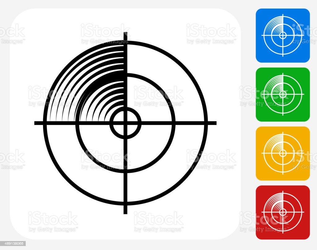 Radar Screen Icon Flat Graphic Design vector art illustration