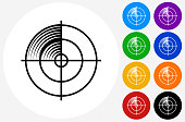 Radar Screen Icon on Flat Color Circle Buttons