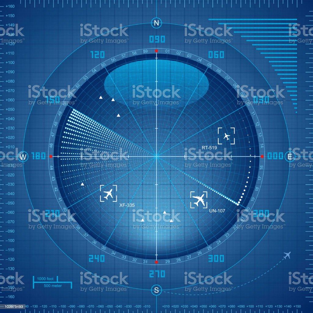 Radar screen in shades of blue vector art illustration