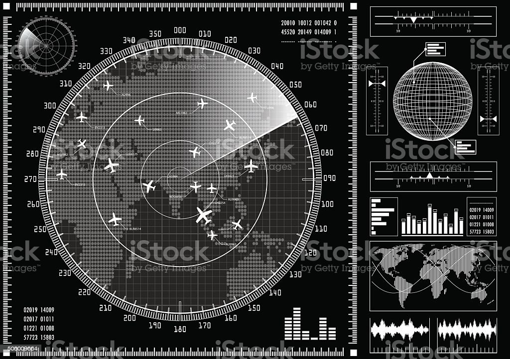 Radar screen with futuristic user interface HUD. vector art illustration