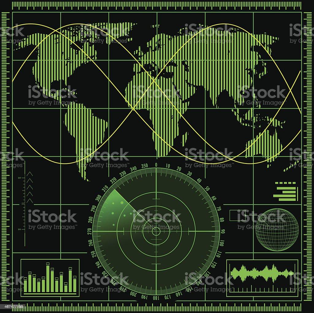 Radar screen with world map vector art illustration