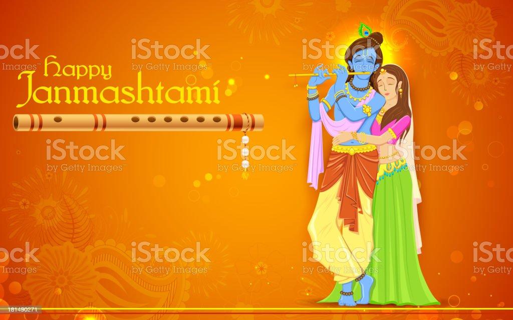 Radha and Lord Krishna on Janmashtami royalty-free stock vector art