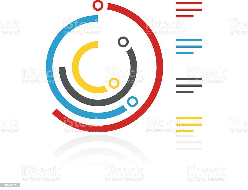 Radial Bar Chart icon on a white background. vector art illustration