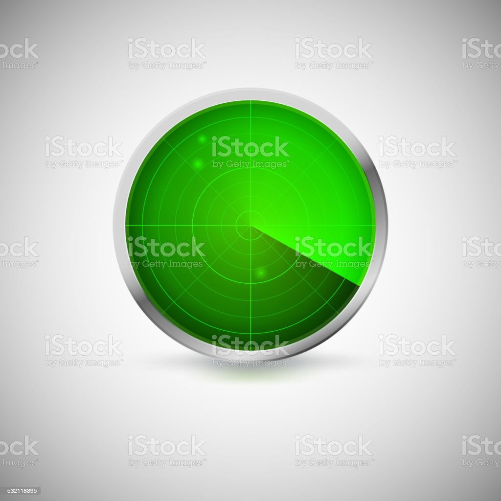 Radial screen of green color with targets. vector art illustration
