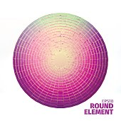 Radial vector ornament. Angular grid of 3d boxes. Design element