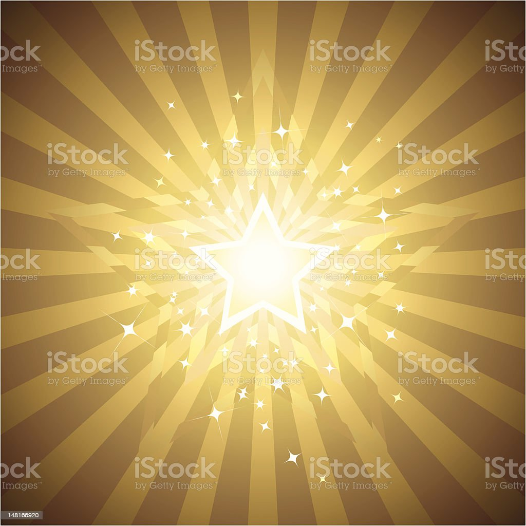 Radiant layers of gold star background vector art illustration