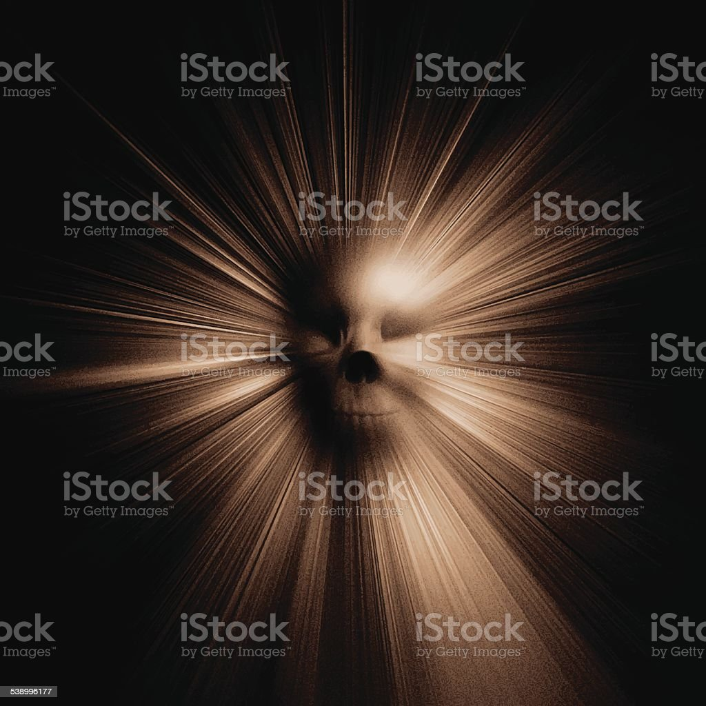 Radiating Skull Background vector art illustration