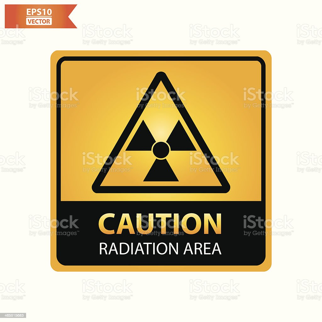 Radiation area text and sign. royalty-free stock vector art