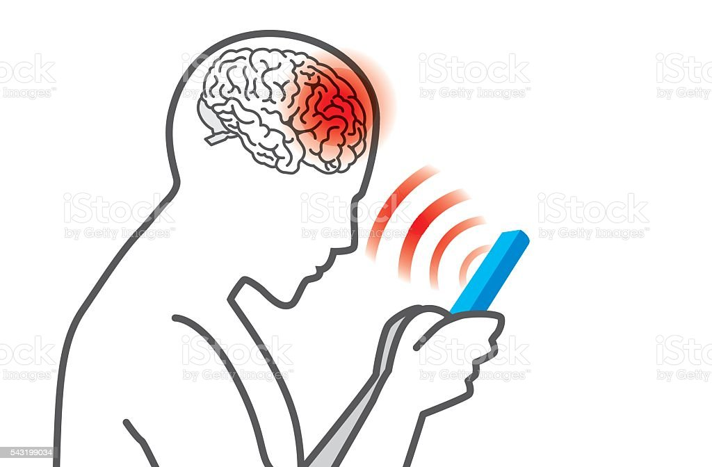 Radiation from mobile phone lead to brain damage. vector art illustration