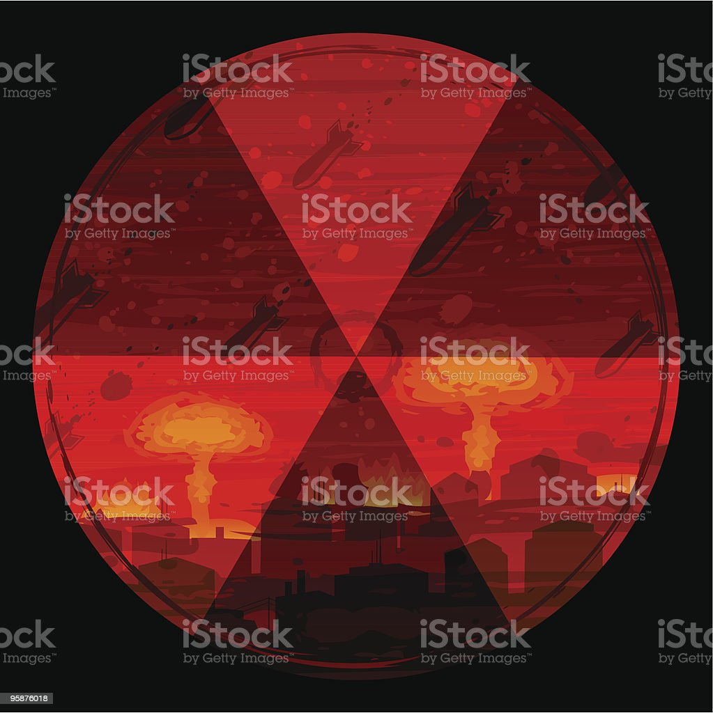 Radiation hazard warning sign against nuclear war background royalty-free stock vector art