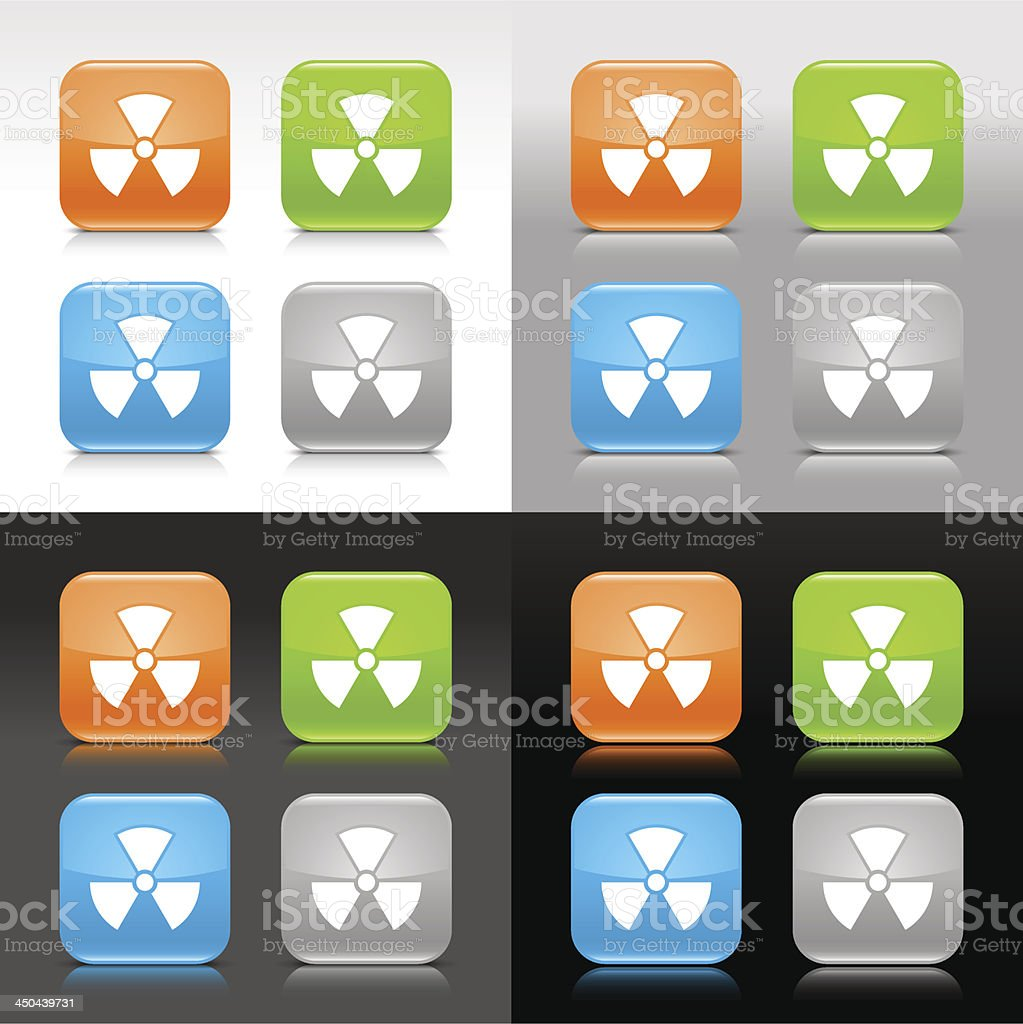Radiation sign orange green blue gray glossy rounded square button vector art illustration