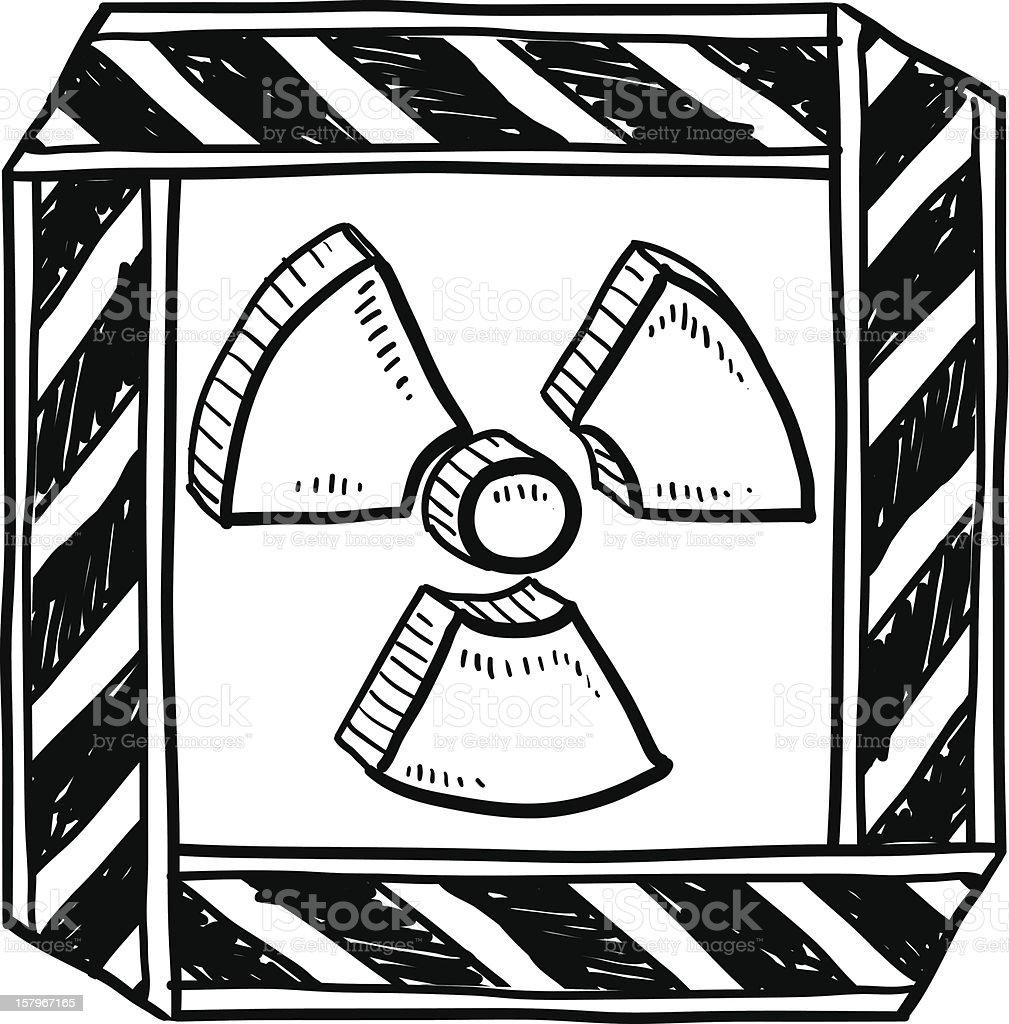 Radiation warning sign sketch vector art illustration