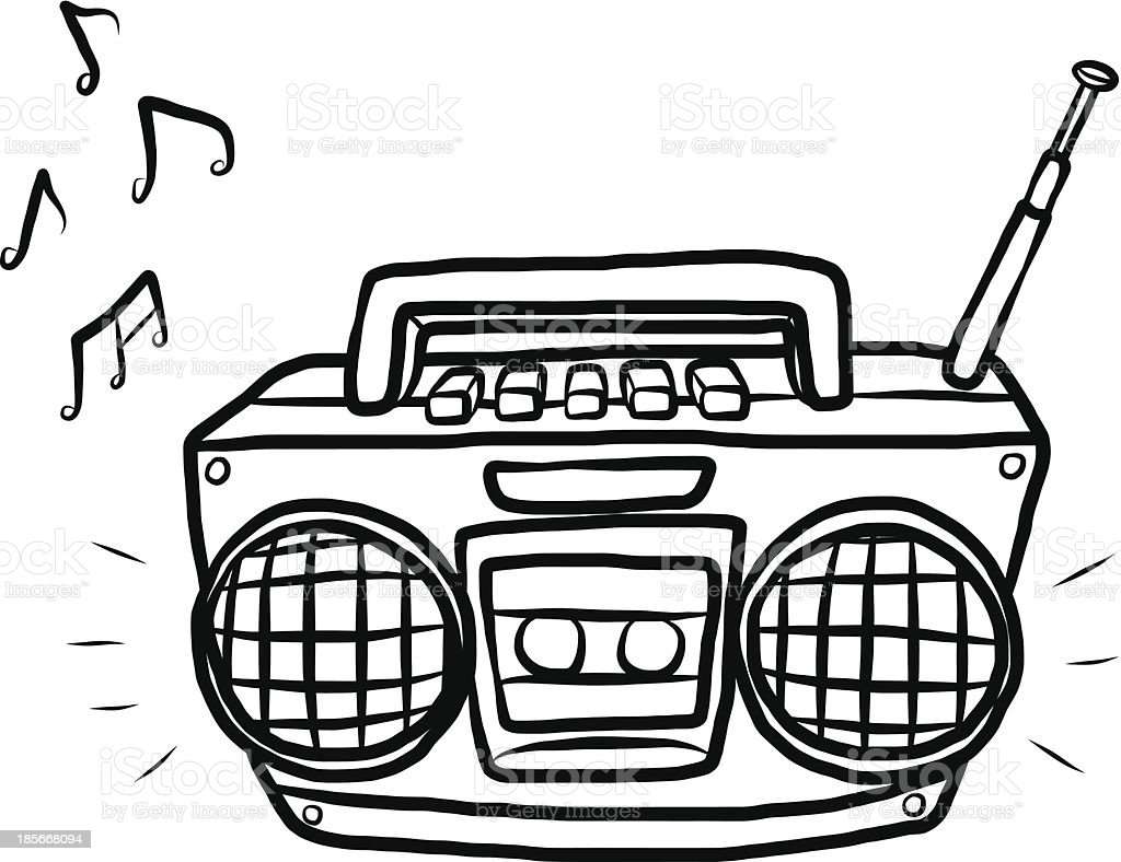 radio and cassette player vector art illustration