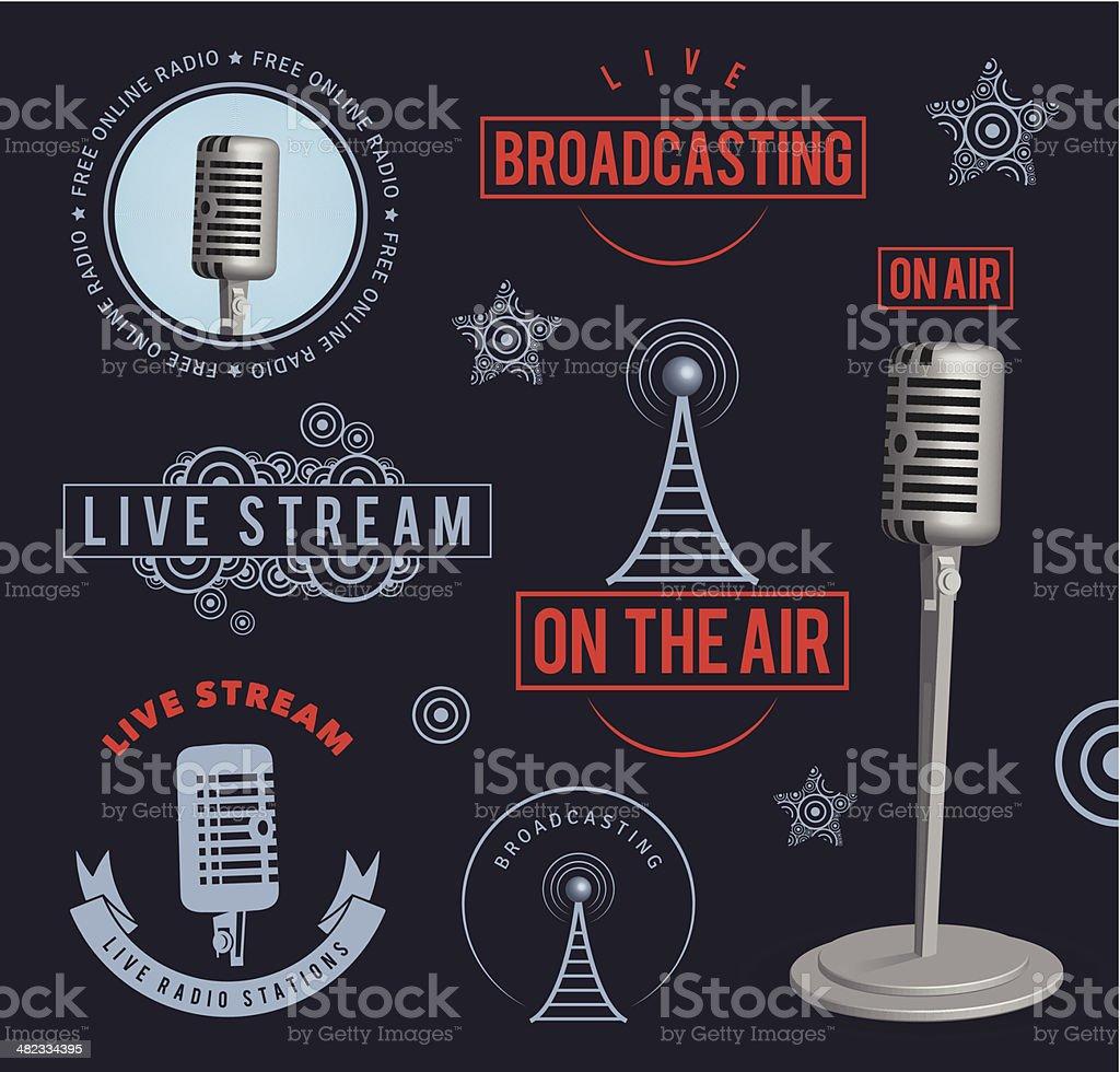 Radio broadcasting design elements vector art illustration