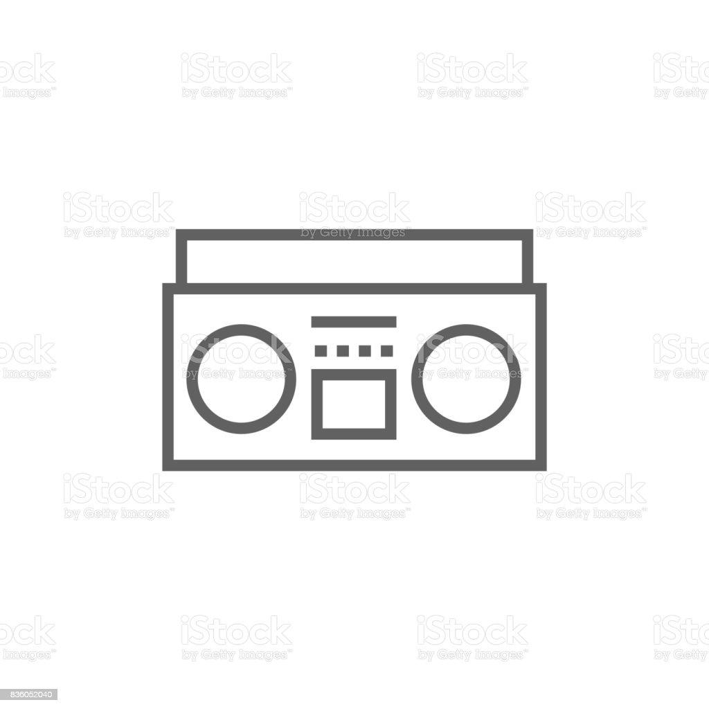 Radio cassette player line icon vector art illustration