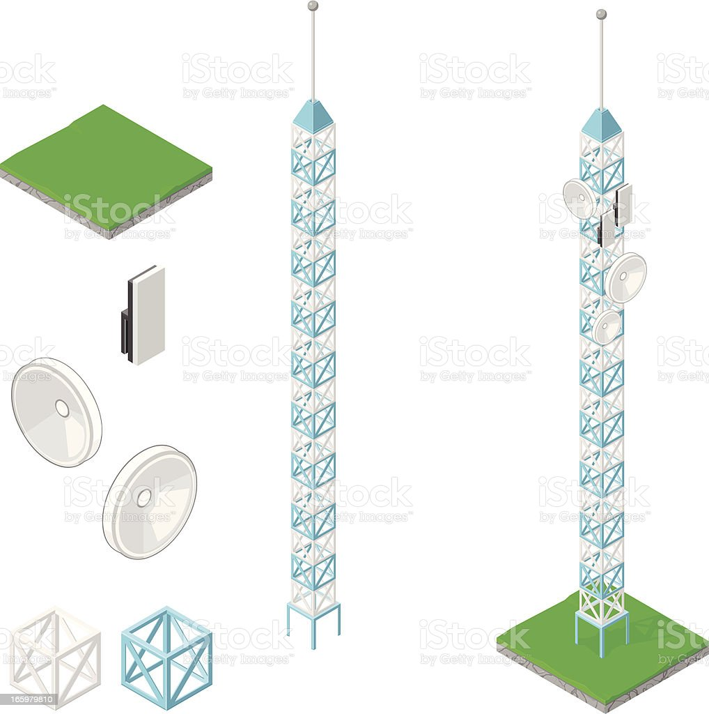 Radio Comminication Tower Antenna and dish vector art illustration