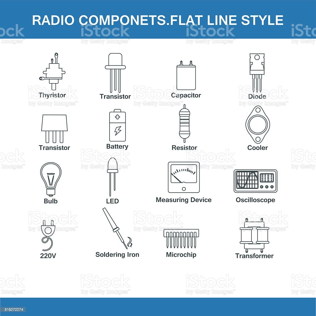 radio components flat line style vector art illustration