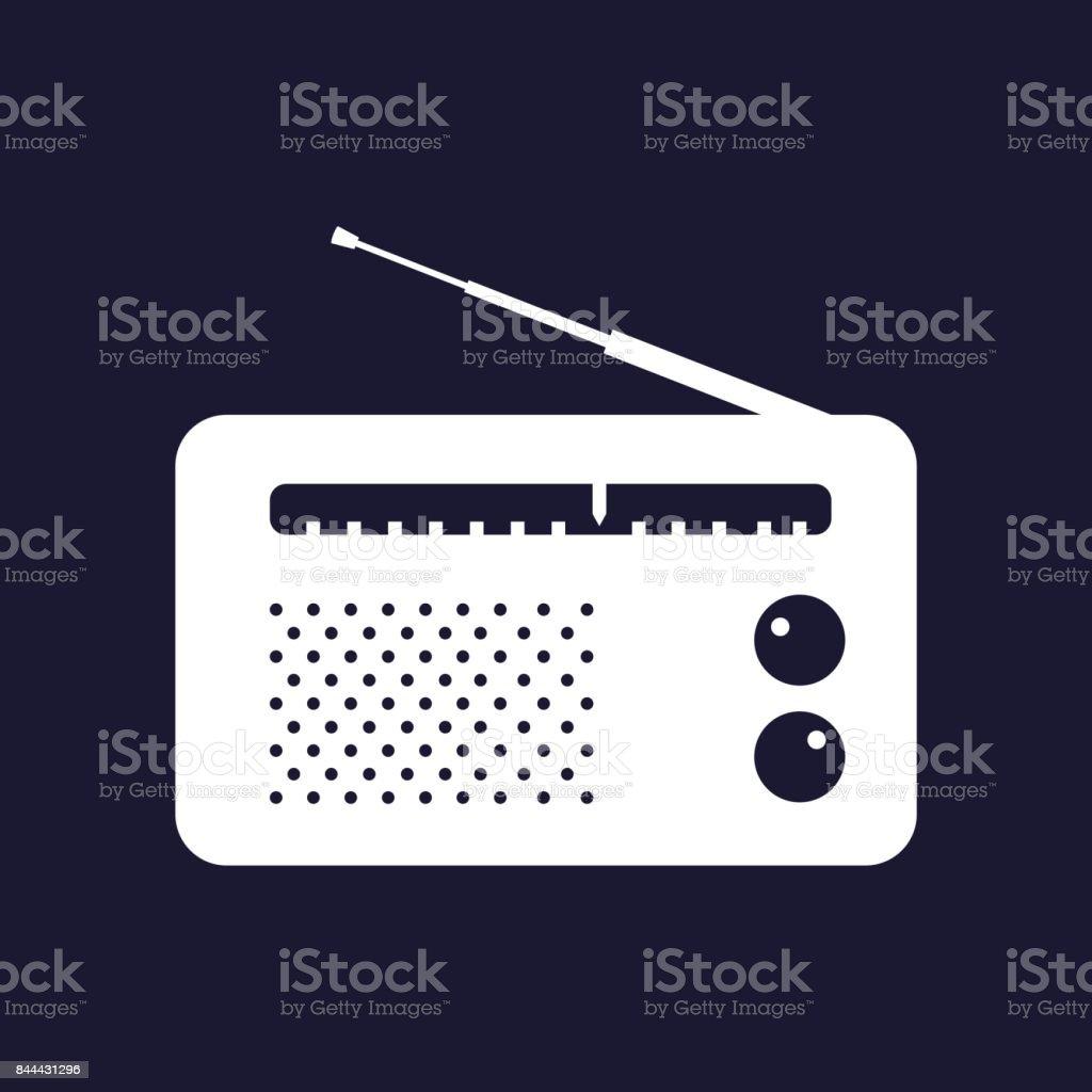 Radio icon. Vector white icon on dark blue background. vector art illustration