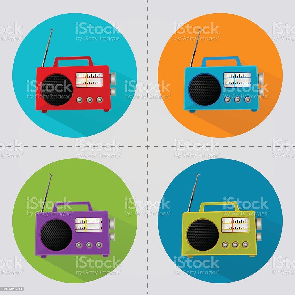 Radio on coloured circles vector art illustration