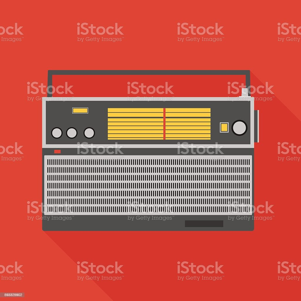 radio receiver icon with long shadow. flat style illustration vector art illustration