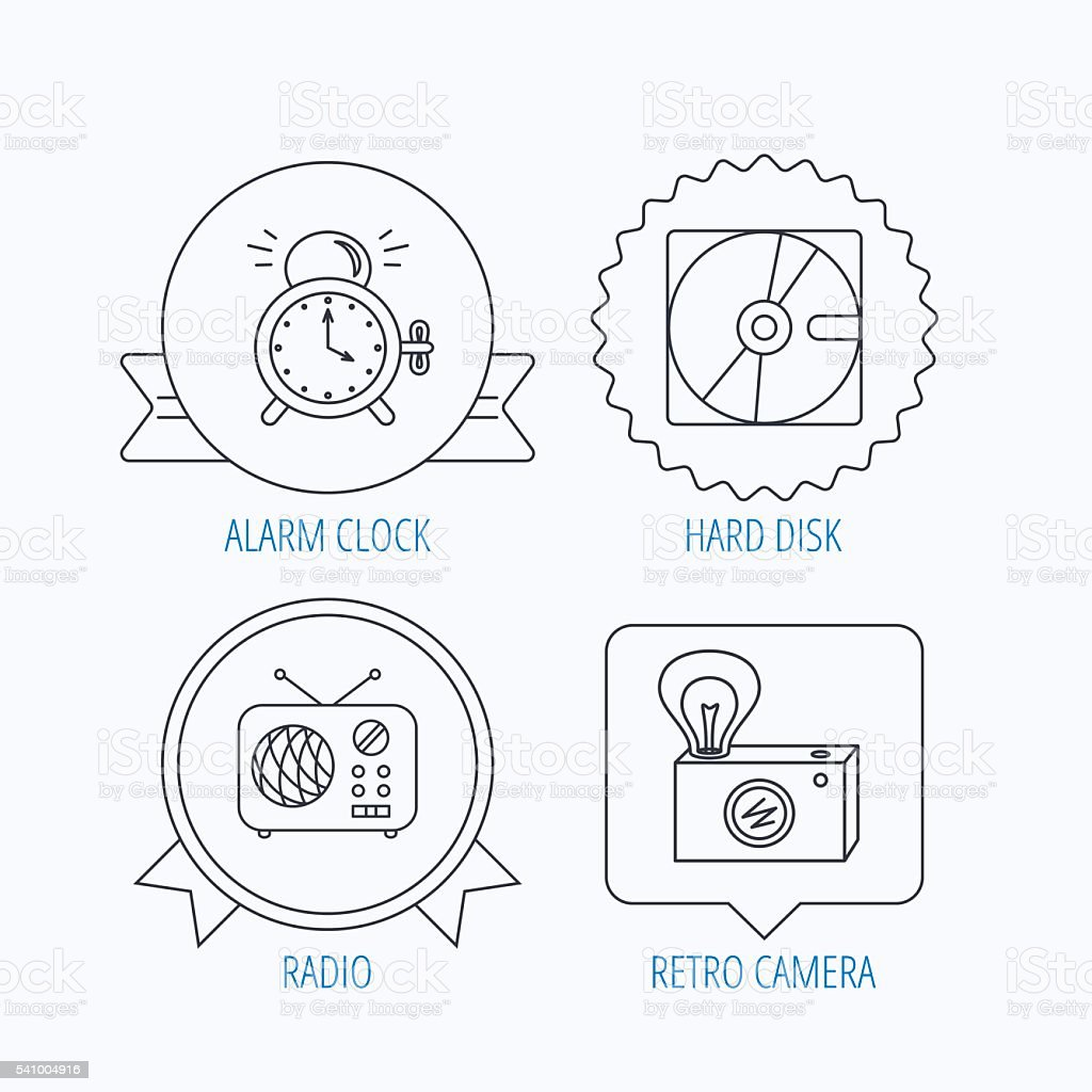 Radio, retro camera and alarm clock icons. vector art illustration