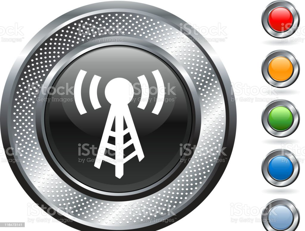 radio royalty free vector art on metallic button royalty-free stock vector art