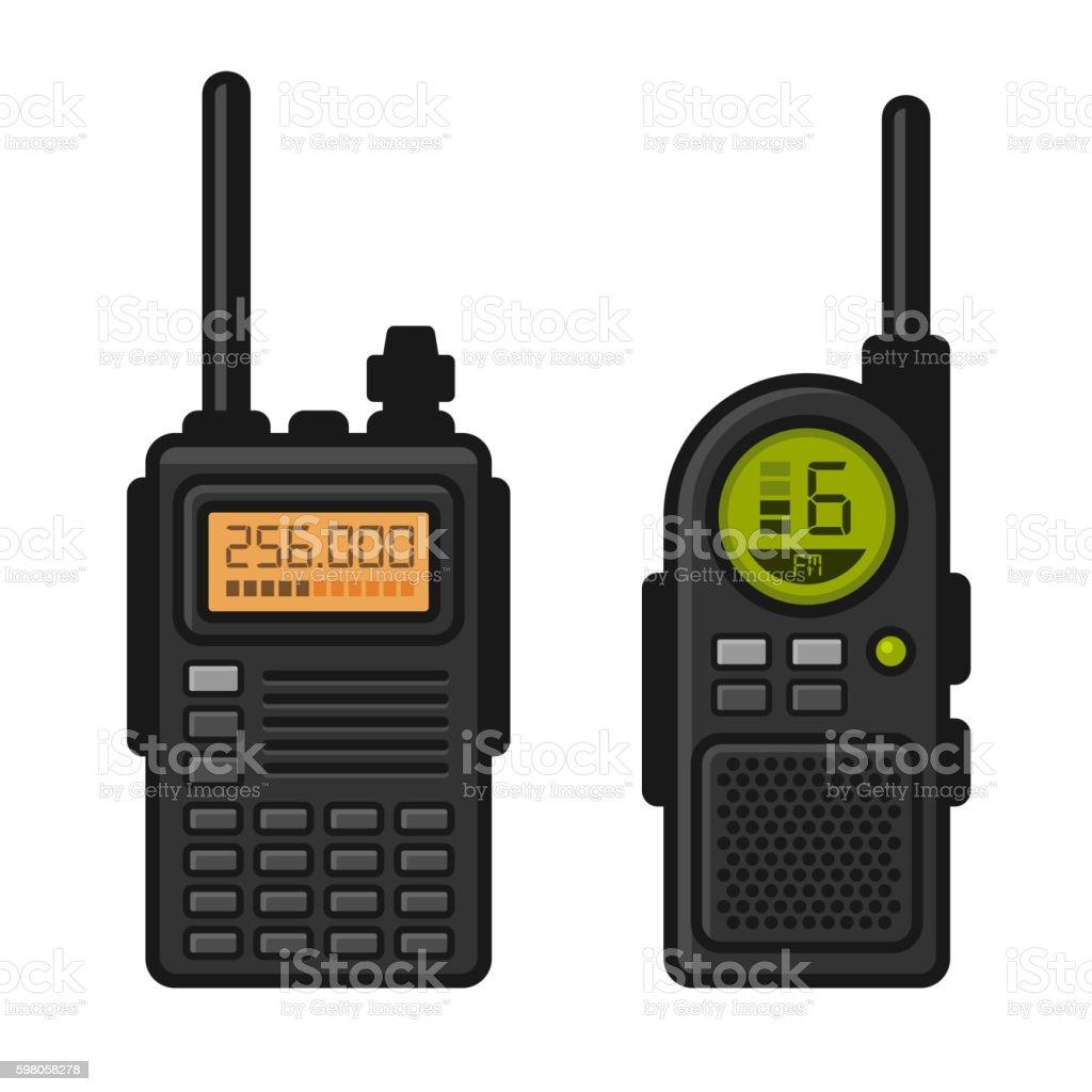 Radio Set Transceiver with Antenna Receiver. Vector vector art illustration