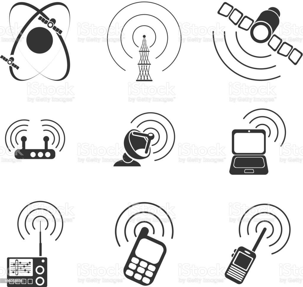 Radio signal simple vector icons vector art illustration