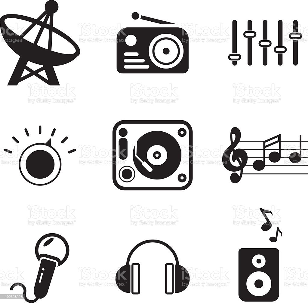 Radio Station Icons vector art illustration
