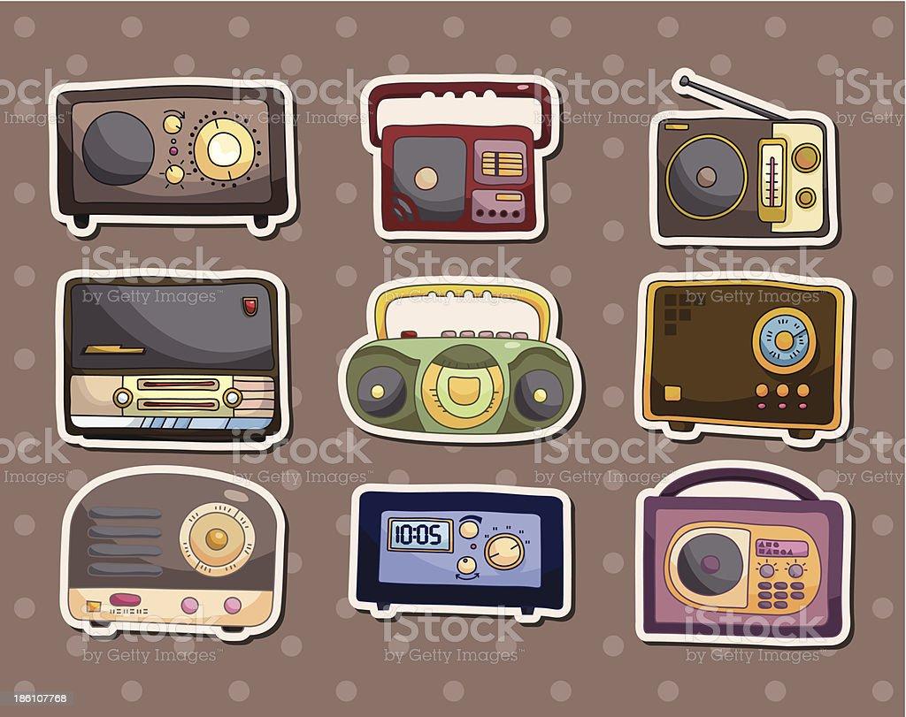 radio stickers vector art illustration