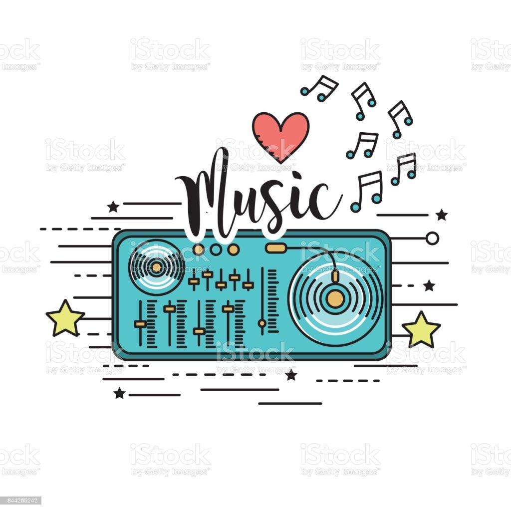 radio to listen and play music vector art illustration