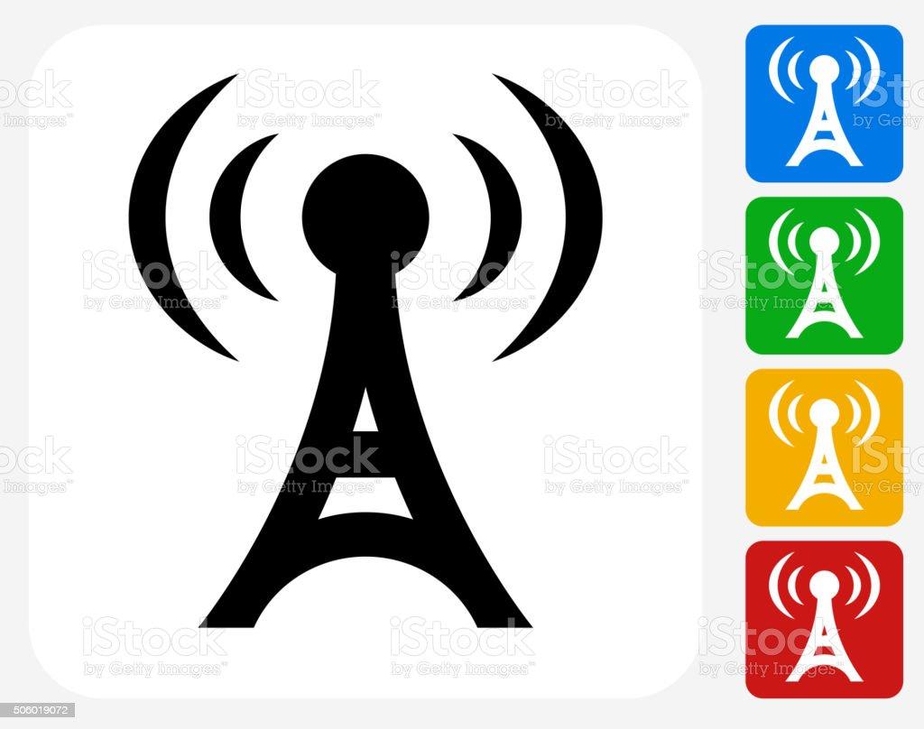Radio Tower Icon Flat Graphic Design vector art illustration