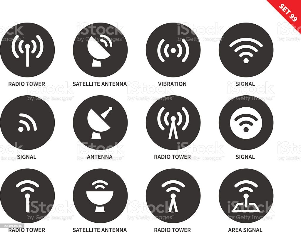Radio tower icons on white background vector art illustration
