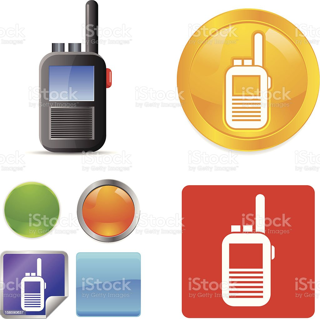 CB Radio Vector Icons vector art illustration