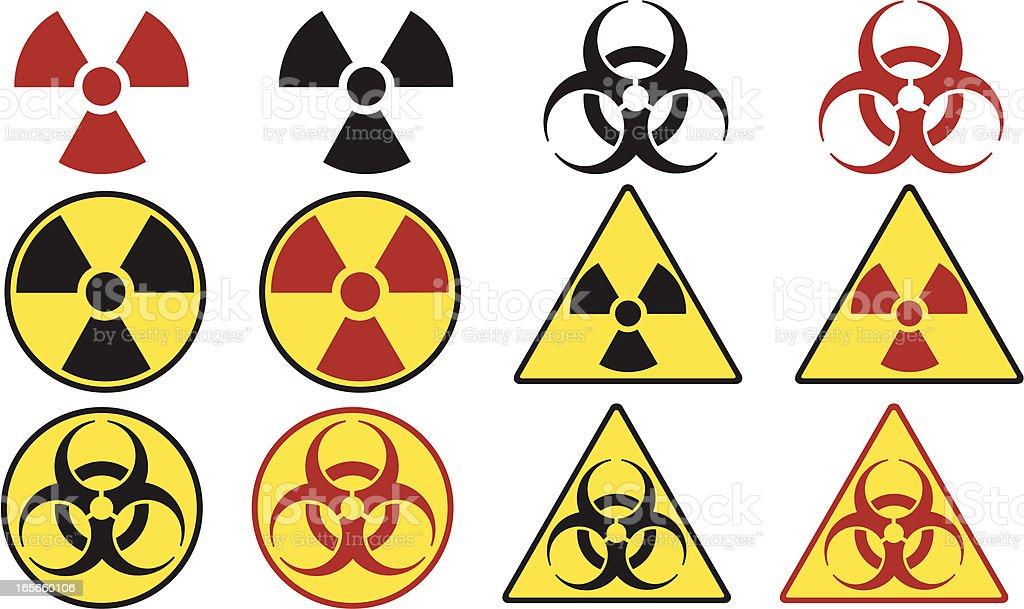 Radioactive & Biohazard Icons royalty-free stock vector art