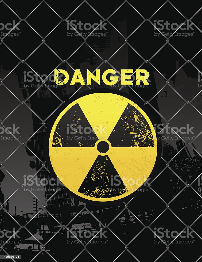 radioactive icon on wired fence vector art illustration