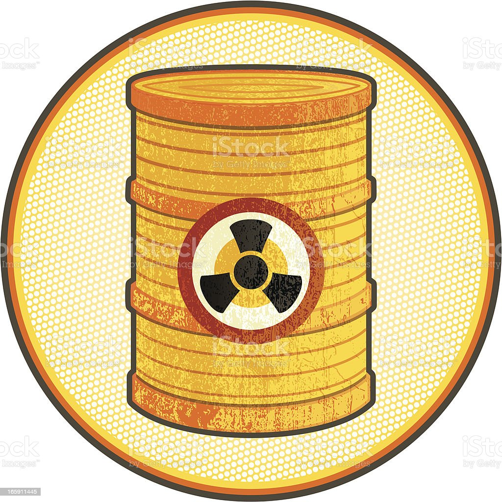 radioactive waste with halftone background vector art illustration