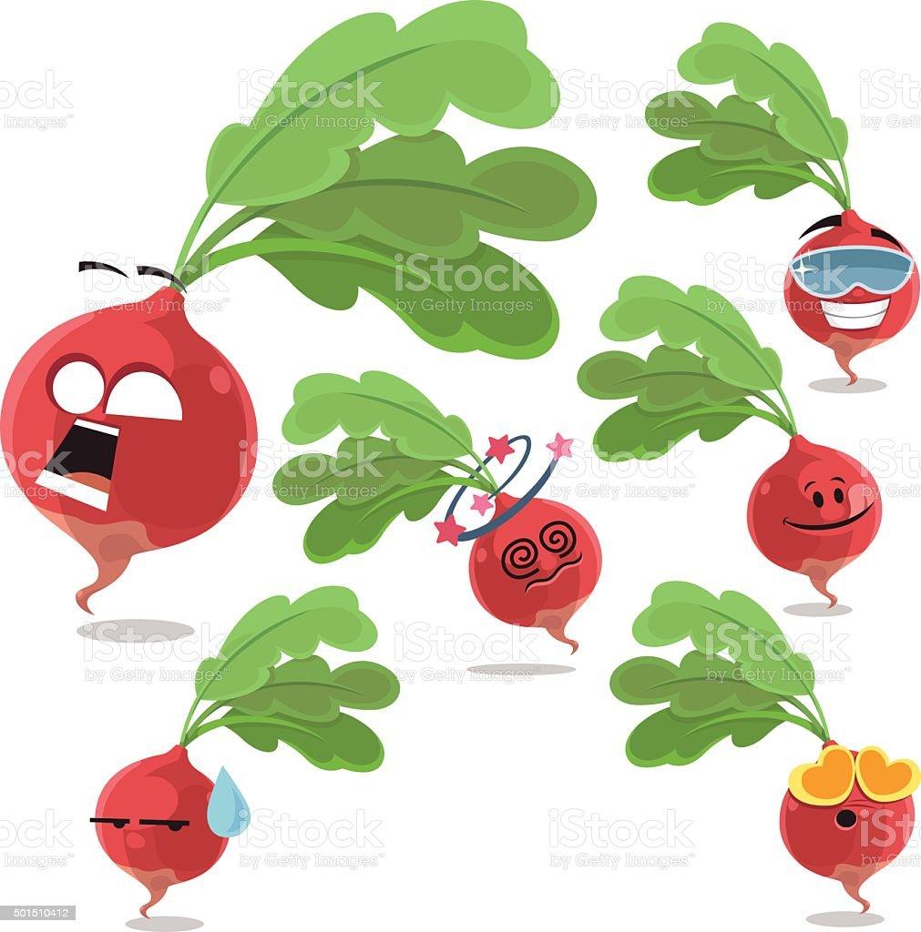 Radish Cartoon Set A vector art illustration